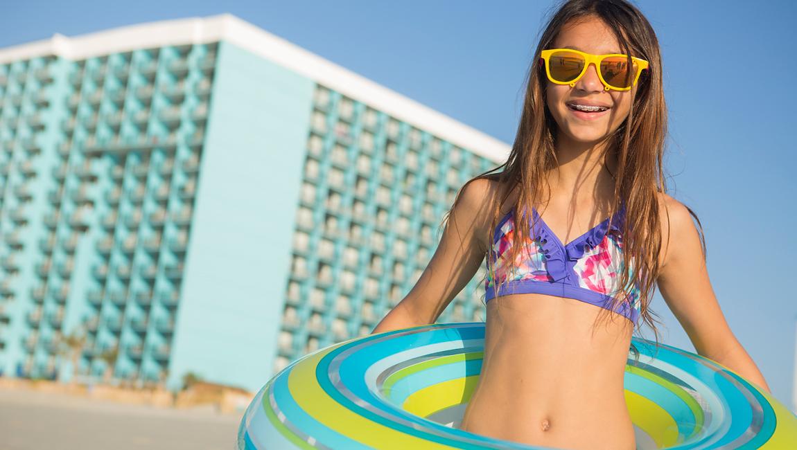 girl in water tube