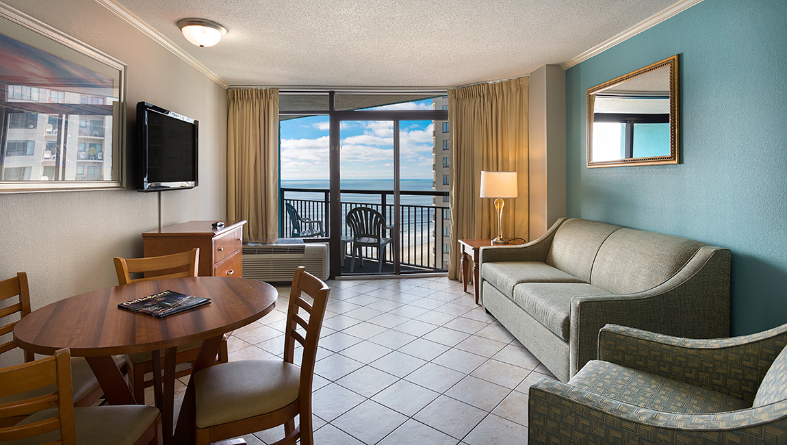 Landmark Resort Angle Oceanfront Myrtle Beach Suite Living Room