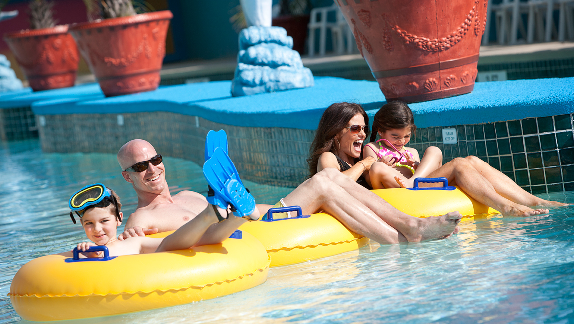 Family in the lazy river